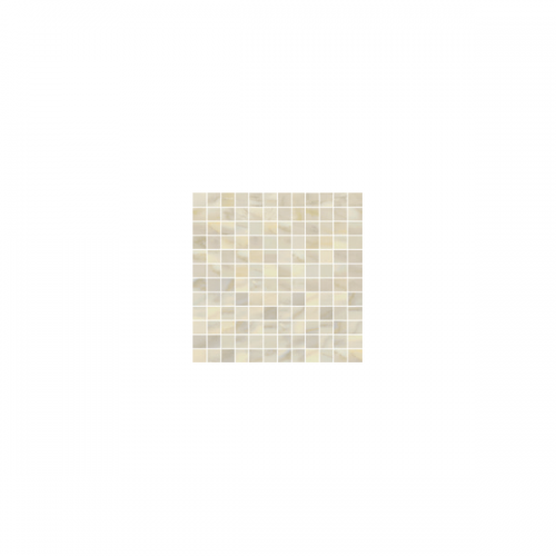 Bardiglio Collection by Happy Floors Mosaic Tile 1x1 Crema Natural
