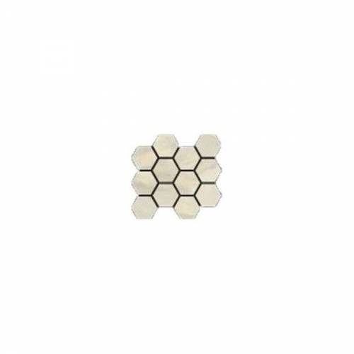 Bardiglio Collection by Happy Floors Mosaic Tile 12x14 Hexagon Crema Natural