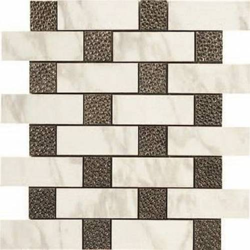 Calacatta Collection by Happy Floors Mosaic Tile 12.6x12.6 in. - Brick Deco Semi-Polished