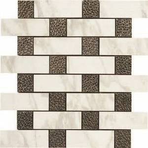 Calacatta Collection by Happy Floors Mosaic Tile 12.6x12.6 Brick Deco Semi-Polished