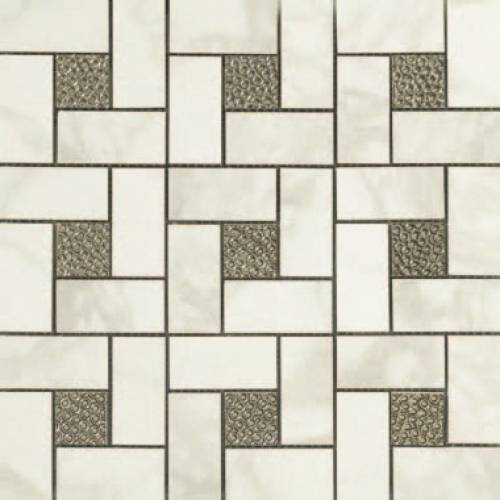 Calacatta Collection by Happy Floors Mosaic Tile 12.6x12.6 in. - Pinwheel Deco Semi-Polished