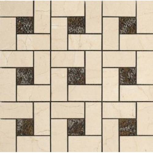 Crema Marfil Collection by Happy Floors Mosaic Tile 12.6x12.6 Pinwheel
