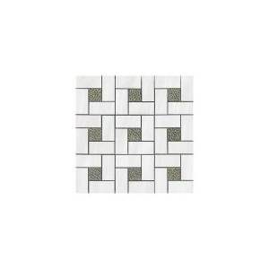 Dolomite Collection by Happy Floors Mosaic Tile 12x12 White Pinwheel Polished