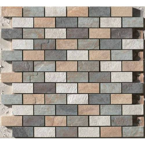 Eternity Collection by Happy Floors Mosaic Tile 1x2 Gold/Almond/Forest/Multicolor