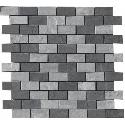 Eternity Collection by Happy Floors Mosaic Tile 1x2 Black/Grey