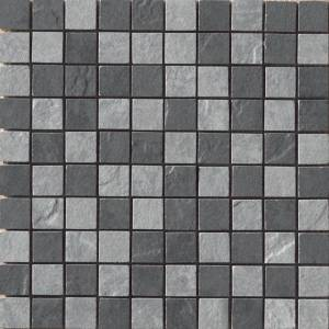 Eternity Collection by Happy Floors Mosaic Tile 1.5x1.5 Black/Grey