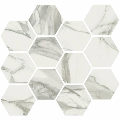 Stratus Collection by Happy Floors Mosaic Tile 12x14 Hexagon Grigio Polished