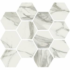 Stratus Collection by Happy Floors Mosaic Tile 12x14 Hexagon Grigio Natural