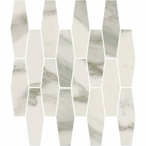 Stratus Collection by Happy Floors Mosaic Tile 12x12 Elongated Hexagon Grigio Polished