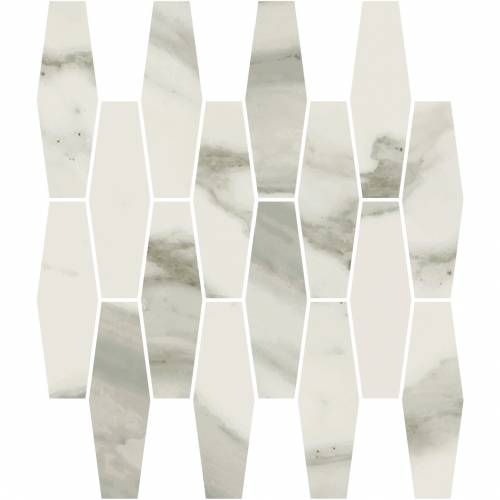 Stratus Collection by Happy Floors Mosaic Tile 12x12 Elongated Hexagon Grigio Natural