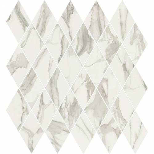 Stratus Collection by Happy Floors Mosaic Tile 12.5x13.5 Rhomboid Grigio Natural