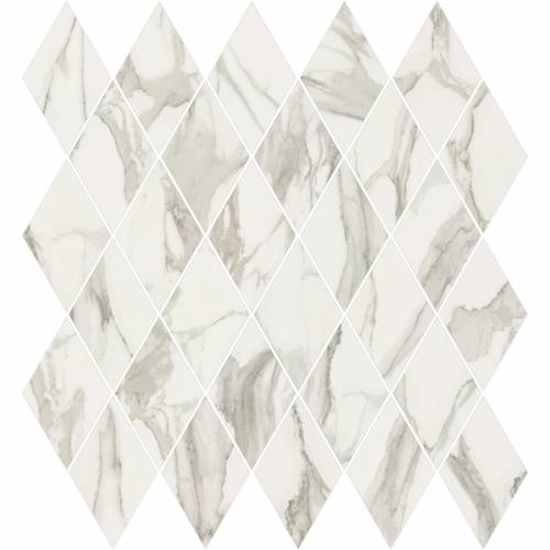 Stratus Collection by Happy Floors Mosaic Tile 12.5x13.5 Rhomboid Grigio Polished