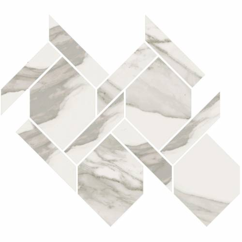 Stratus Collection by Happy Floors Mosaic Tile 13x14.5 Rope Grigio Polished