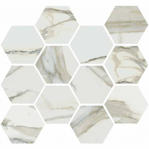 Stratus Collection by Happy Floors Mosaic Tile 12x14 Hexagon Oro Polished