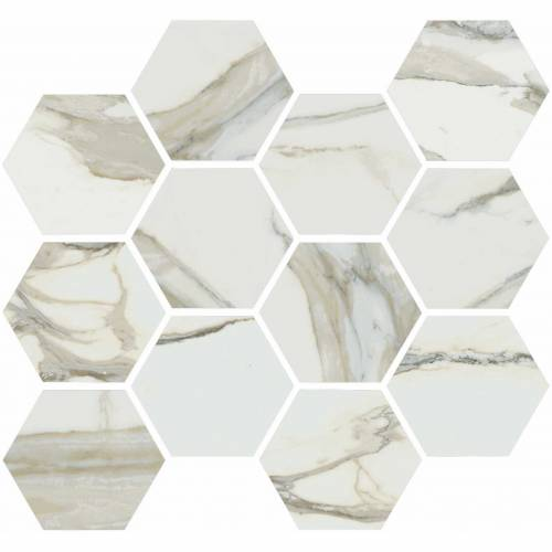 Stratus Collection by Happy Floors Mosaic Tile 12x14 Hexagon Oro Natural