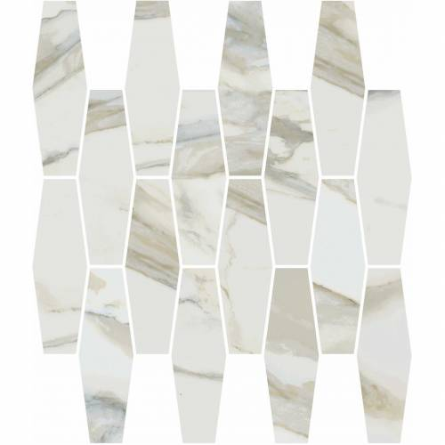Stratus Collection by Happy Floors Mosaic Tile 12x12 Elongated Hexagon Oro Polished