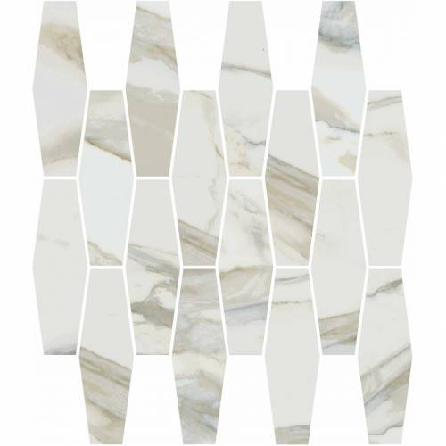 Stratus Collection by Happy Floors Mosaic Tile 12x12 Elongated Hexagon Oro Natural