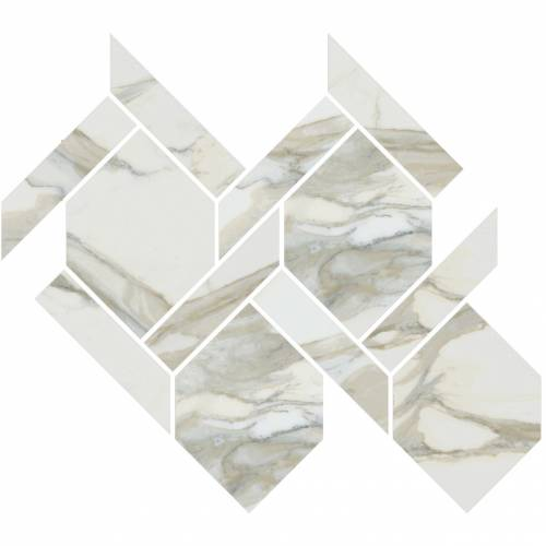 Stratus Collection by Happy Floors Mosaic Tile 13x14.5 Rope Oro Polished