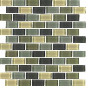 Interglass Shimmer Blends Collection by Interceramic Mosaics 1x2 in. - Ocean