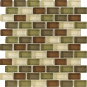Interglass Shimmer Blends Collection by Interceramic Mosaics 1x2 in. - Woods