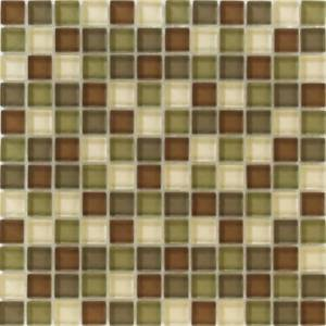 Interglass Shimmer Blends Collection by Interceramic Mosaics 1x1 in. - Woods