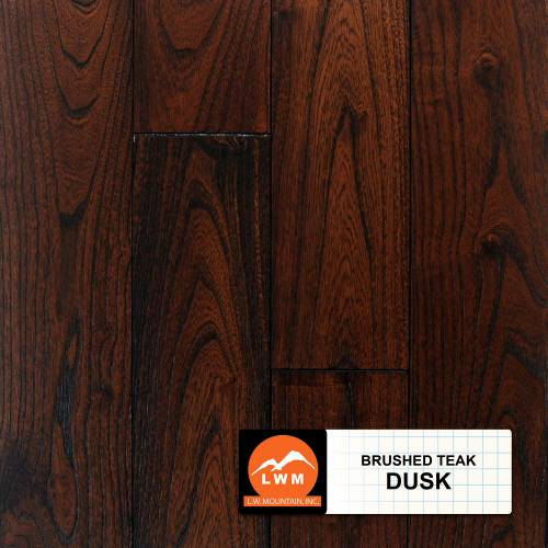 "Brushed Asian Teak Collection by LW Mountain Solid Hardwood 4-13/16"" Teak - Dusk"