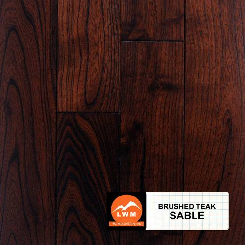 Brushed Asian Teak Collection by LW Mountain Solid Hardwood 4-13/16 in. Teak - Sable
