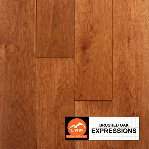 "Brushed Oak Collection by LW Mountain Solid Hardwood 4-15/16"" Oak - Expressions"