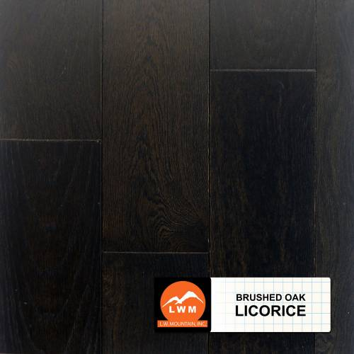 "Brushed Oak Collection by LW Mountain Solid Hardwood 4-15/16"" Oak - Licorice"