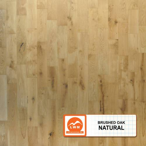 "Brushed Oak Collection by LW Mountain Solid Hardwood 4-15/16"" Oak - Natural"