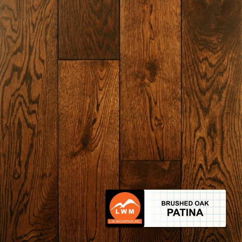 Brushed Oak Collection by LW Mountain Solid Hardwood 4-15/16 in. Oak - Patina