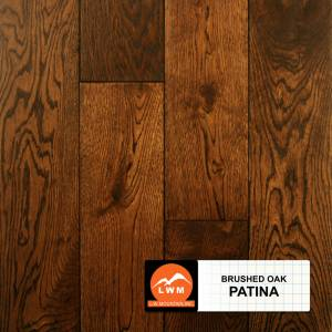"Brushed Oak Collection by LW Mountain Solid Hardwood 4-15/16"" Oak - Patina"