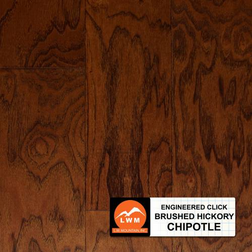 "Brushed Click Collection by LW Mountain Engineered Hardwood 5"" Hickory - Chipotle"