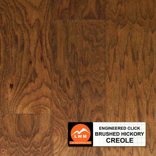 Brushed Click Collection by LW Mountain Engineered Hardwood 5 in. Hickory - Creole