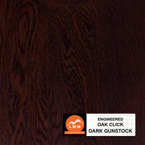Brushed Click Collection by LW Mountain Engineered Hardwood 5 in. Oak - Dark Gunstock