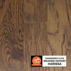 """Brushed Click Collection by LW Mountain Engineered Hardwood 5"""" Hickory - Harissa"""