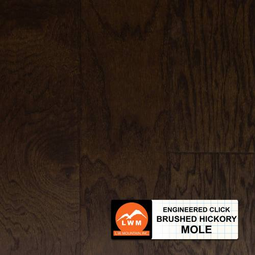 Brushed Click Collection by LW Mountain Engineered Hardwood 5 in. Hickory - Mole