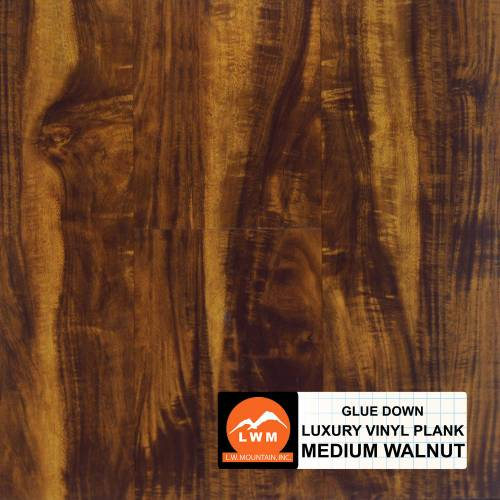 Commercial Dry Back LVP Collection by LW Mountain Vinyl Plank 6x48 in. - Medium Walnut