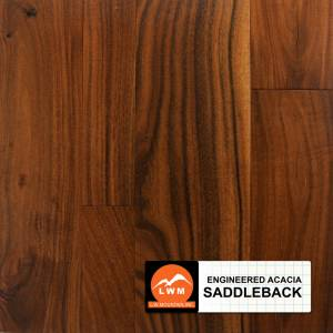 "Distressed Small Leaf Acacia Collection by LW Mountain Engineered Hardwood 5"" Acacia - Saddleback"