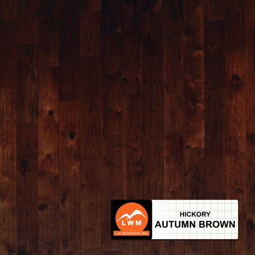 "Hand Scraped Hickory Collection by LW Mountain Solid Hardwood 4-15/16"" Hickory - Autumn Brown"