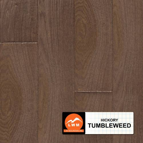 "Hand Scraped Hickory Collection by LW Mountain Solid Hardwood 4-15/16"" Hickory - Tumbleweed"