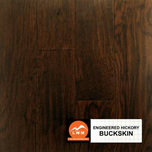 "Hand-Scraped Hickory Collection by LW Mountain Engineered Hardwood 5"" Hickory - Buckskin"