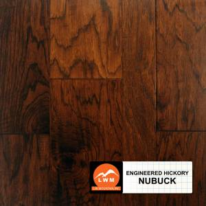 "Hand-Scraped Hickory Collection by LW Mountain Engineered Hardwood 5"" Hickory - Nubuck"