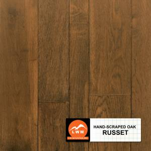 "Hand-Scraped Oak Collection by LW Mountain Solid Hardwood 2-1/4"", 3-1/4"", 4-1/4"" Oak - Russet"