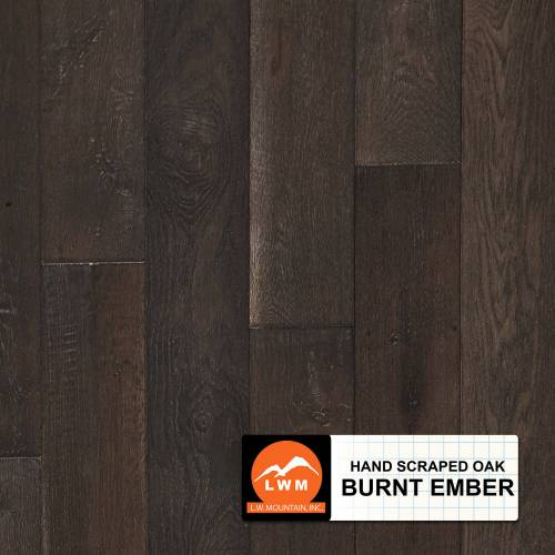 "Hand-Scraped Oak Collection by LW Mountain Solid Hardwood 4-15/16"" Oak - Burnt Ember"