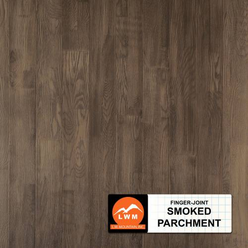 "Hand-Scraped Oak Collection by LW Mountain Solid Hardwood 4-15/16"" Oak - Finger Joint Smoked Parchment"