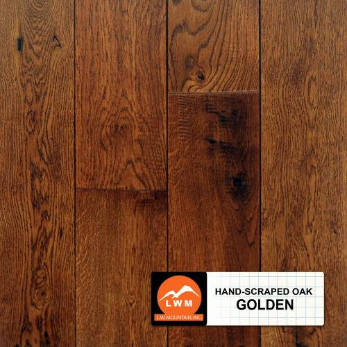 Classic Hand-Scraped Oak Collection by LW Mountain Solid Hardwood 4-15/16 in.  Oak - Golden