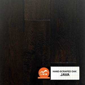 "Hand-Scraped Oak Collection by LW Mountain Solid Hardwood 4-15/16"" Oak - Java"