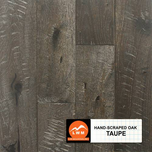 "Hand-Scraped Oak Collection by LW Mountain Solid Hardwood 4-15/16"" Oak - Taupe"