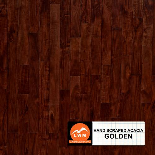Hand-Scraped Small Leaf Acacia Collection by LW Mountain Solid Hardwood 4-3/4 in.  Acacia - Golden